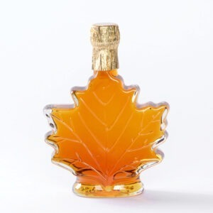 Pure New Hampshire Maple Syrup in Glass Leaf Bottles