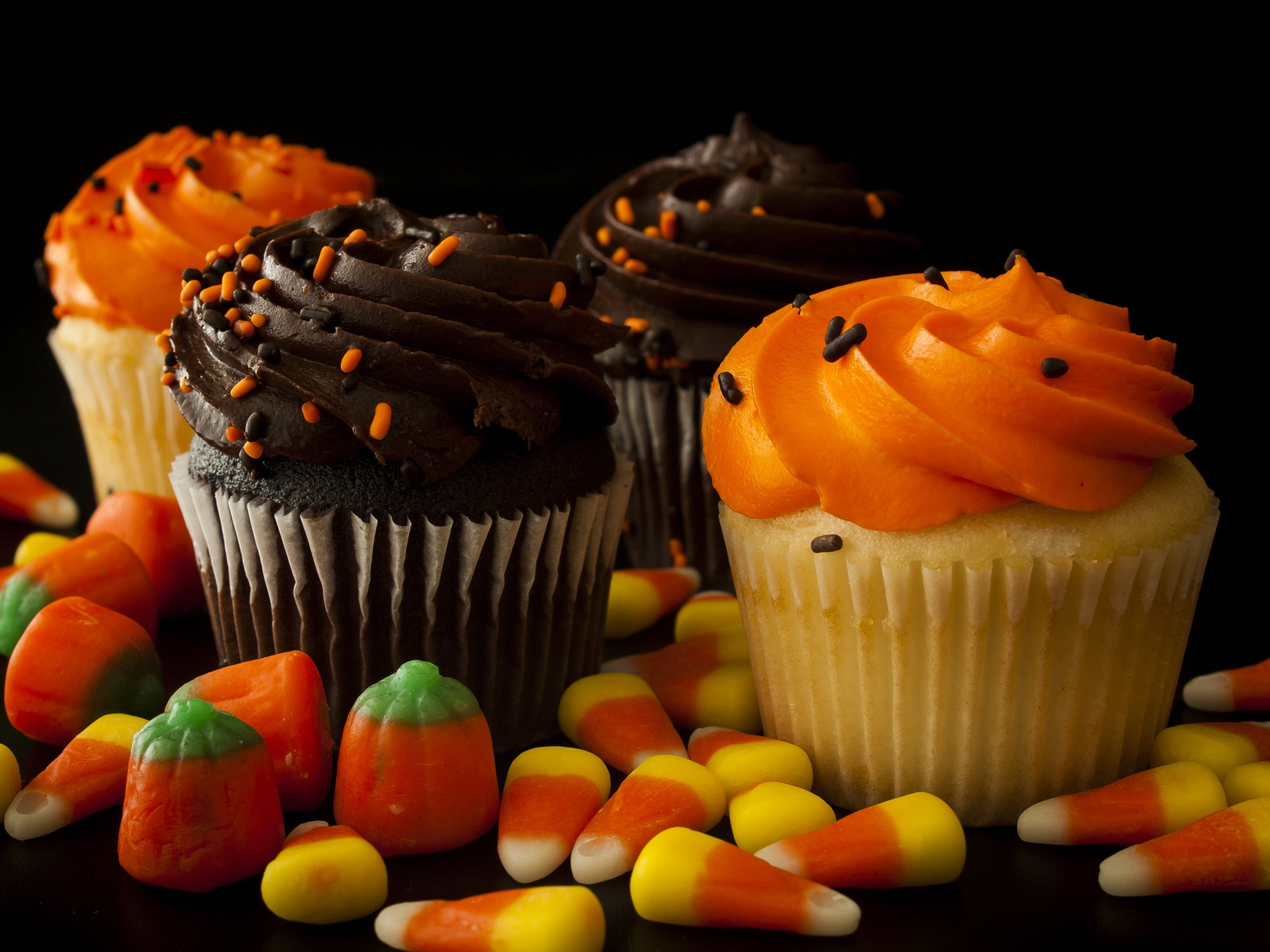 Maple Cupcakes with Candy Corn